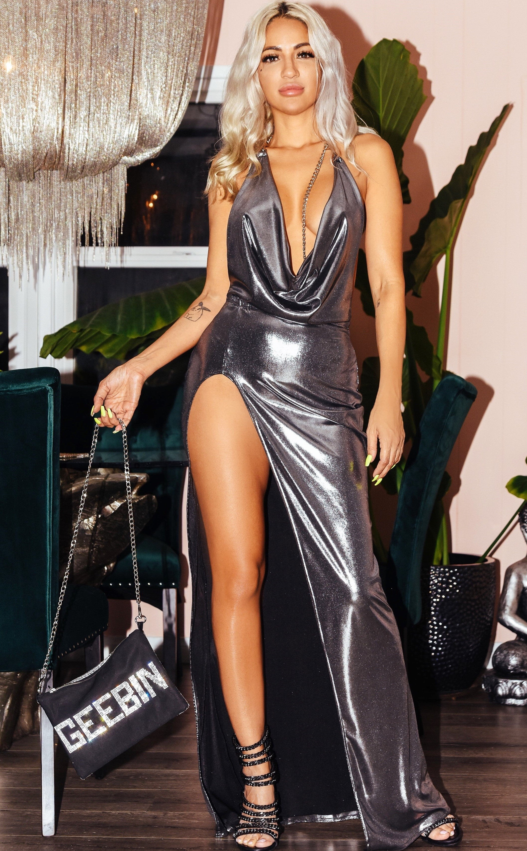 Geebin: Silver Luciana Draped Dress