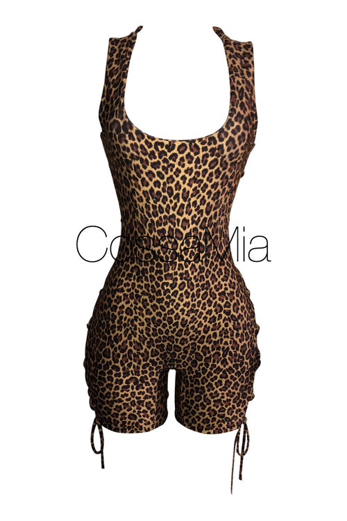 Leopard Kiara Lace Up Romper
