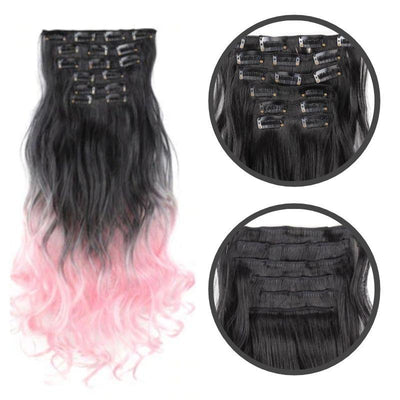 extension cheveux rose clip