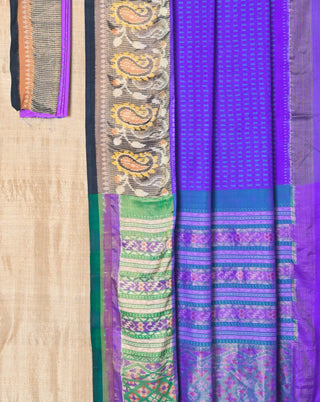Ereena Blue,Purple and Magenta Paisley Ikat Saree EFPZV-350E