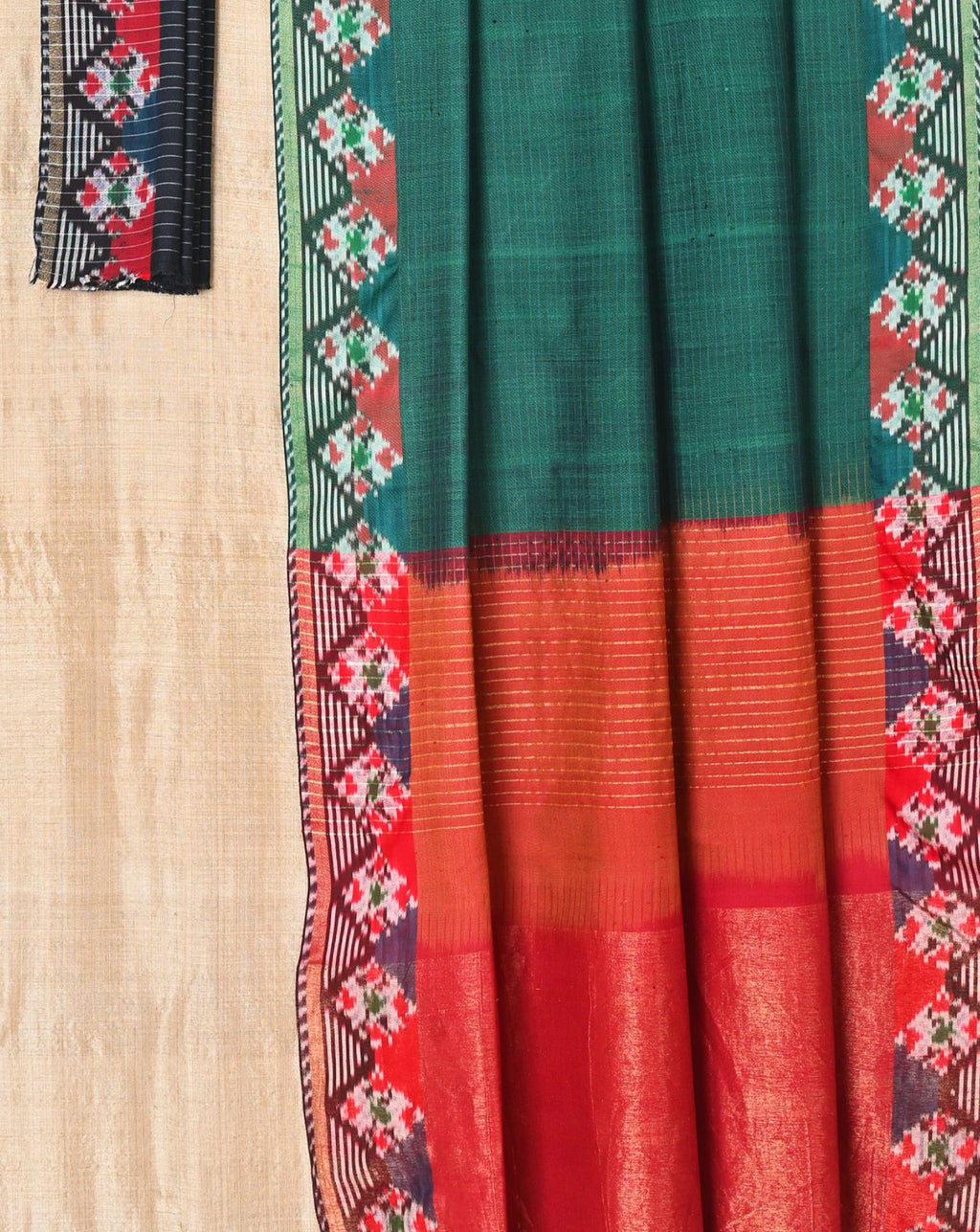 Bottle Green Diamond Pattern Ikat saree EFPZV-409 (956M)