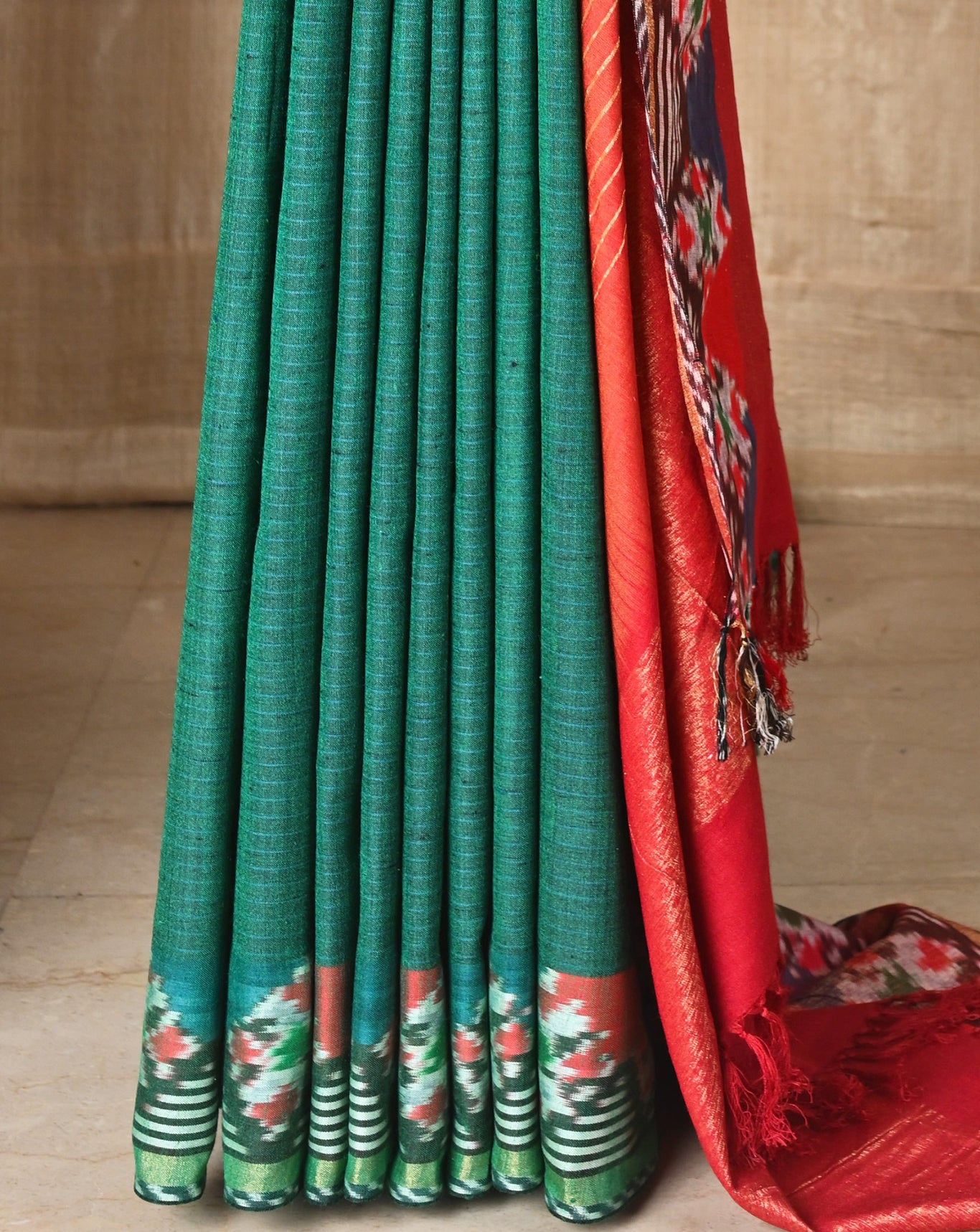 Ereena Bottle Green Diamond Pattern Ikat saree