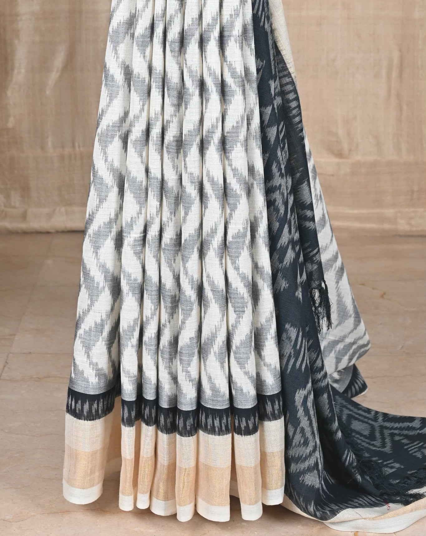 Ereena White with Black Chevron Ikat Eri Silk Saree