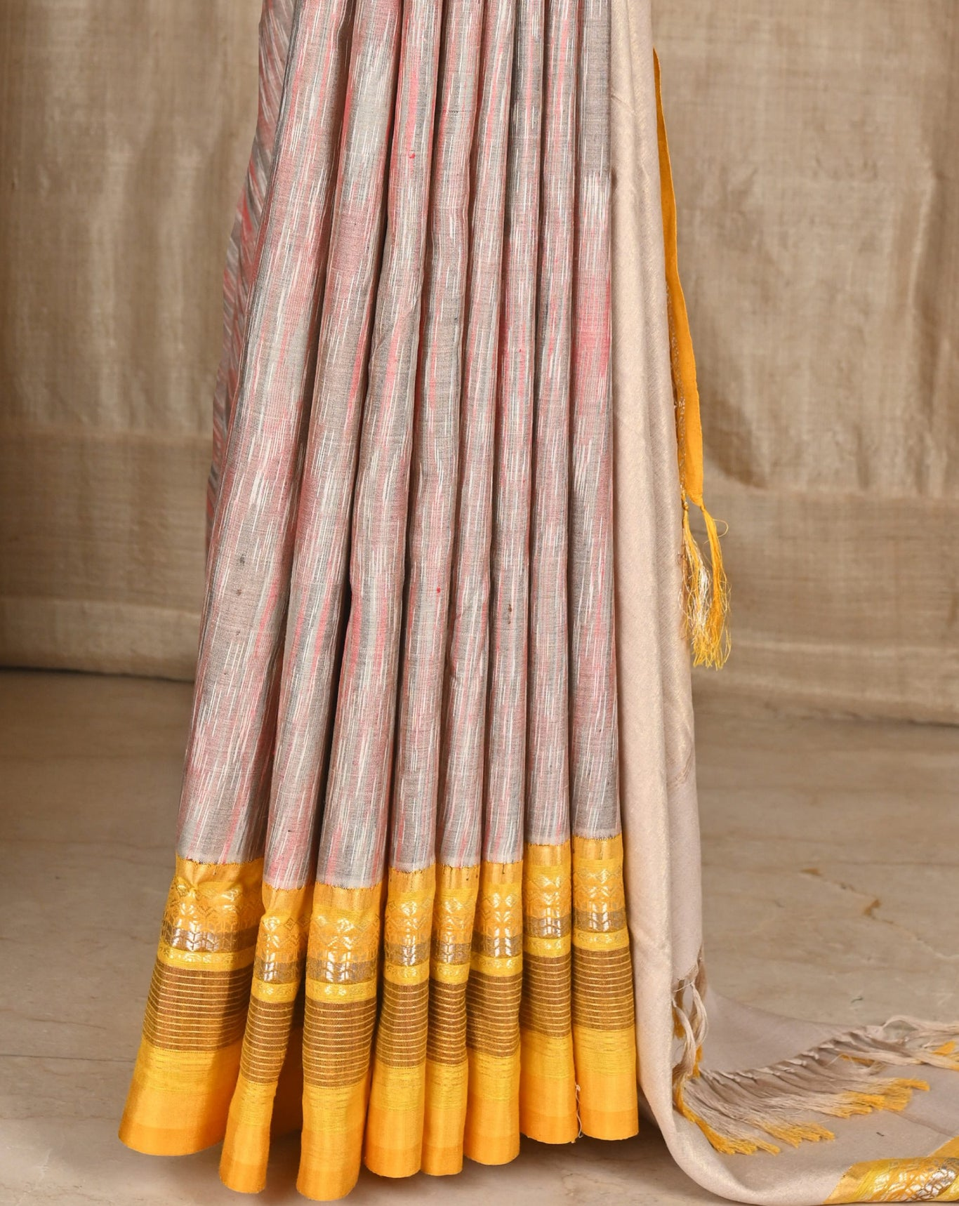 Ereena Grey and Peach Marble Texture Ikat Eri Silk Saree