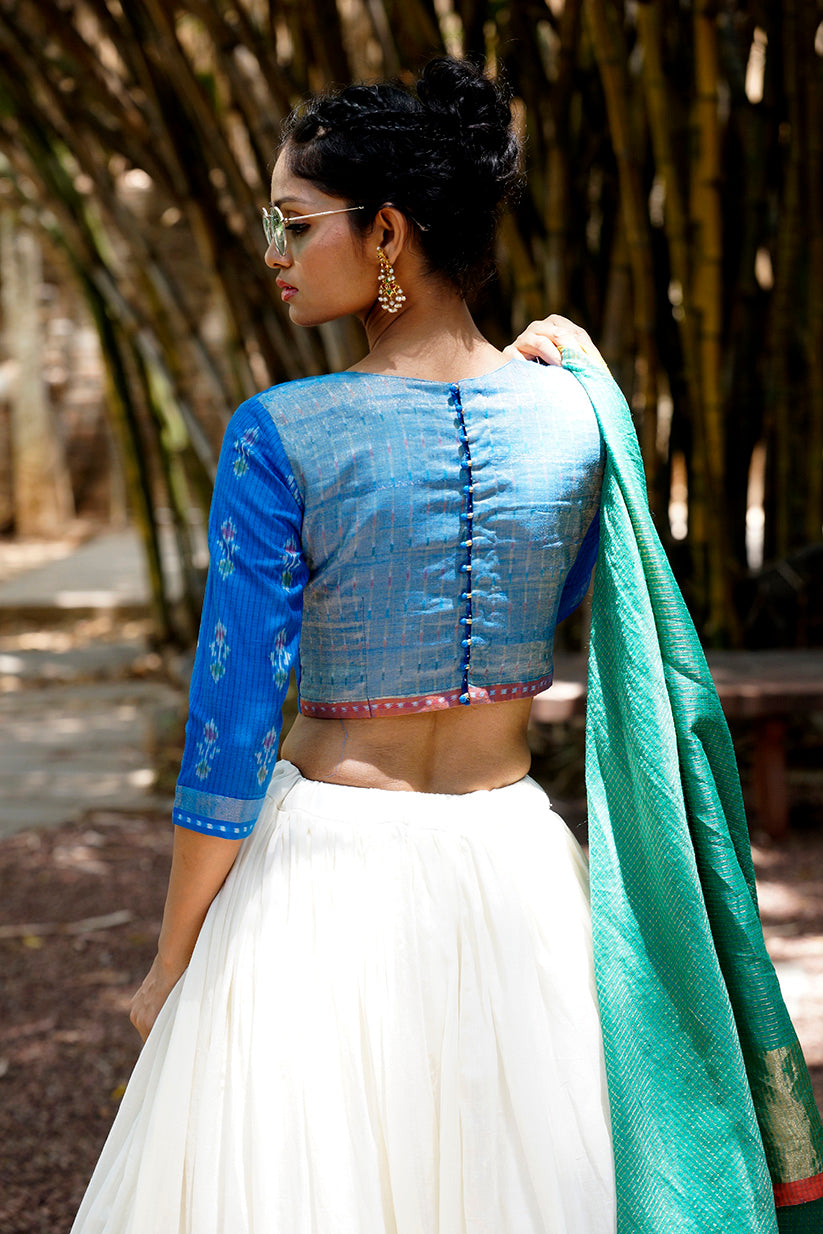 EREENA ERI SILK WITH LOTUS IKAT LEHENGA