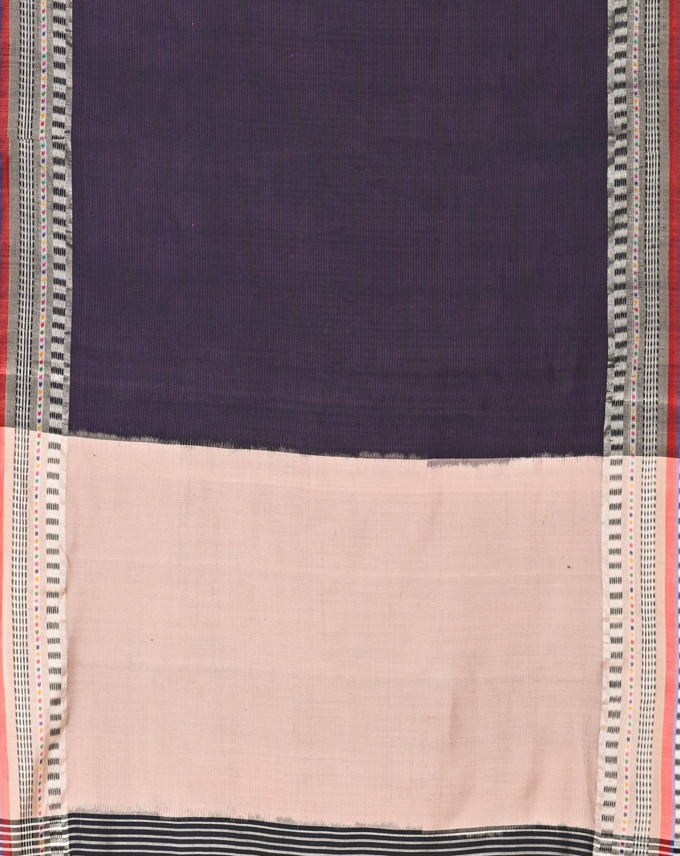 Ereena Light and Dark Purple Lines Ikat Eri Silk Saree