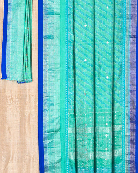 Ereena Aquamarine and Peacock Blue Diagonals Ikat Saree EFPZV-005G