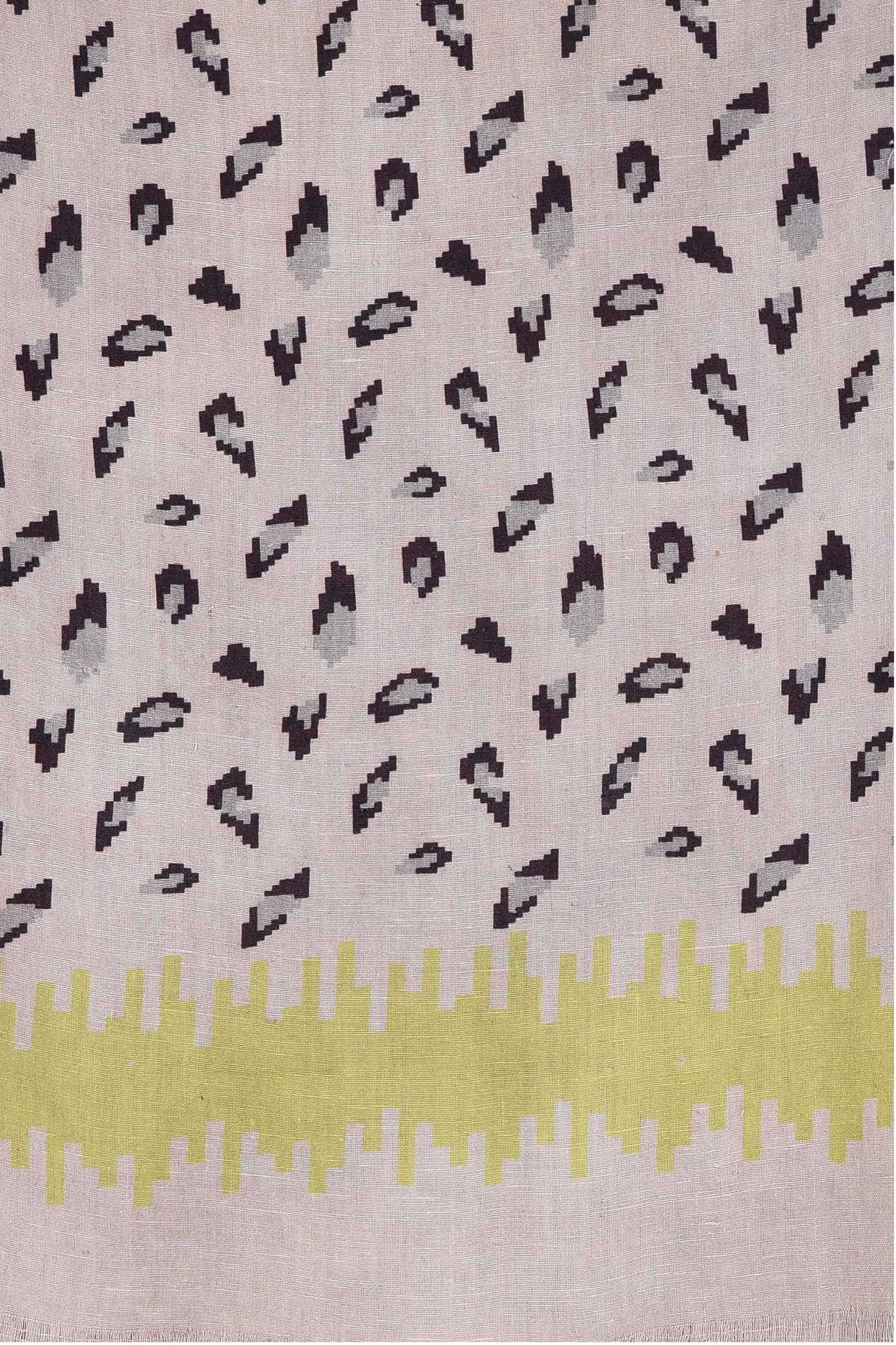 Ereena Eri Silk Cats Eye Print Stole – Cool Grey EXSAF 02