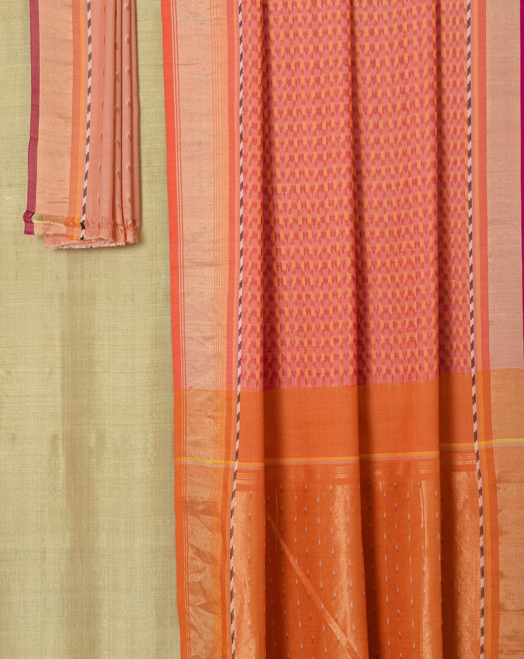 Ereena Peach Ikat Tonal Checks EFPZV-135G