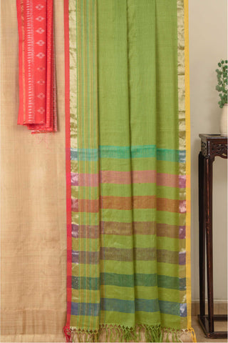 Ereena Leaf Green Kota Weave Eri Silk Saree