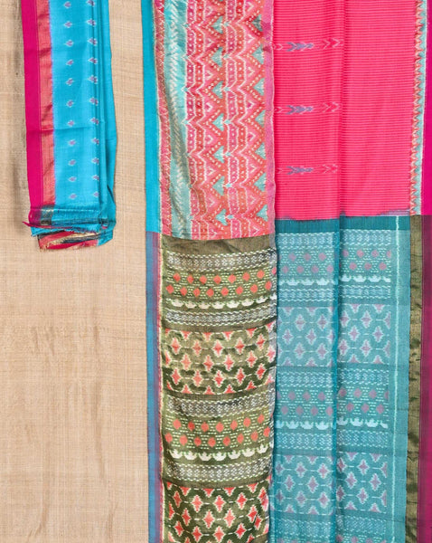Ereena Fuscia with Blue and White Ikat Arrows Eri Silk Saree EFPZY-351 D