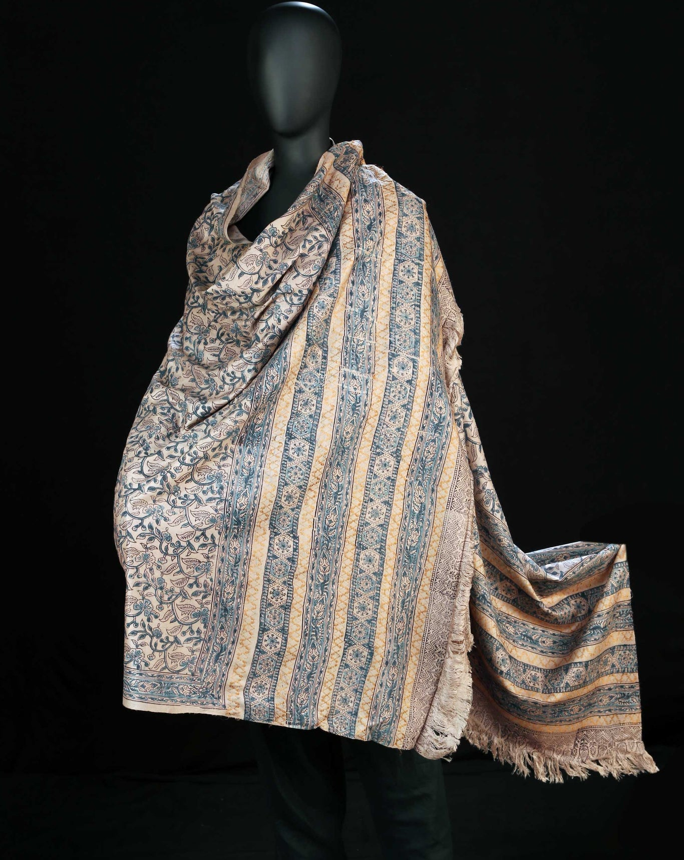 Ereena Earth Natural Dye Block Printed Silk Blue Flowers Shawl – AC 4559-01