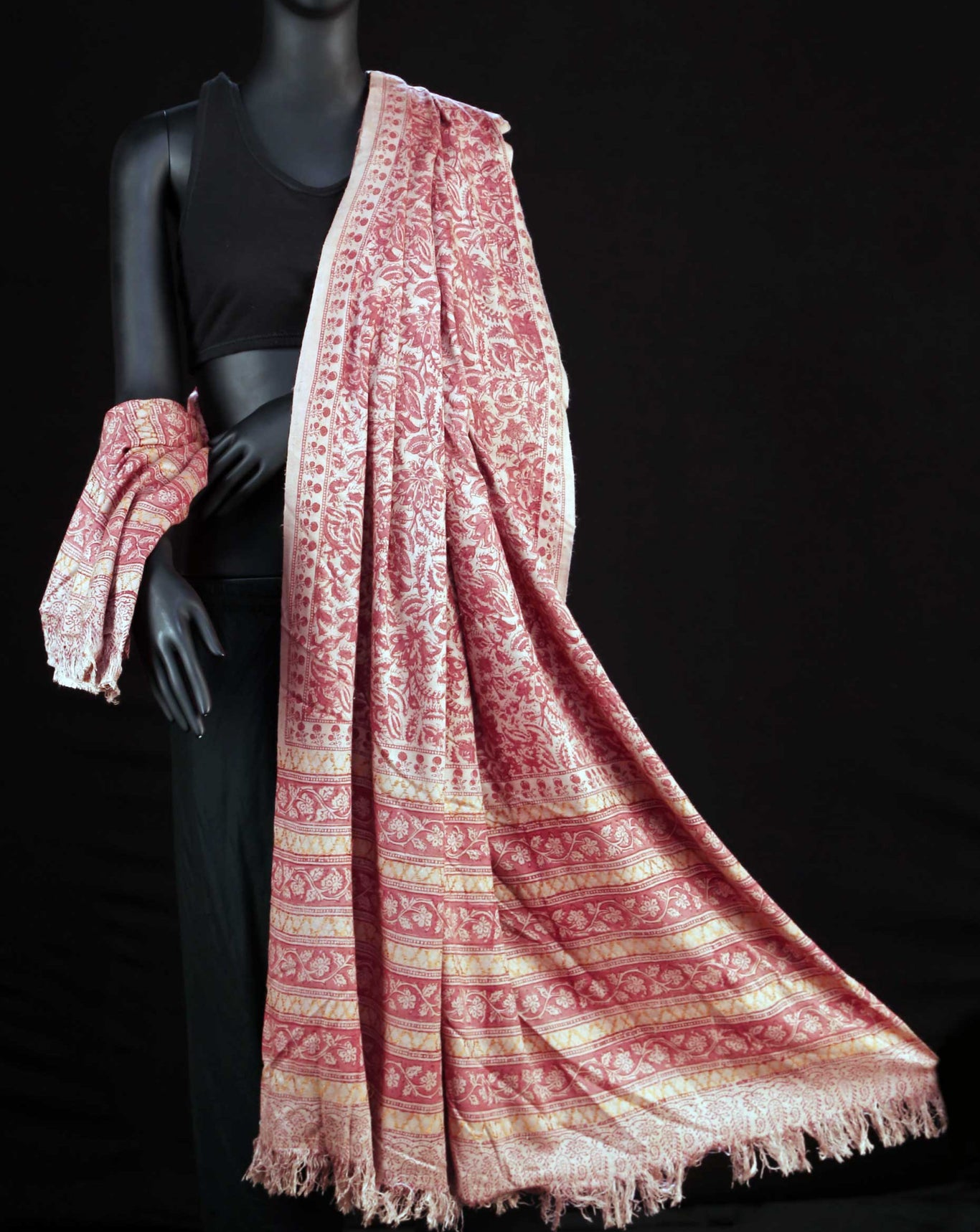 Ereena Earth Eri Silk Brown Clover Natural Dye Block Printed Shawls– AC 4559-02