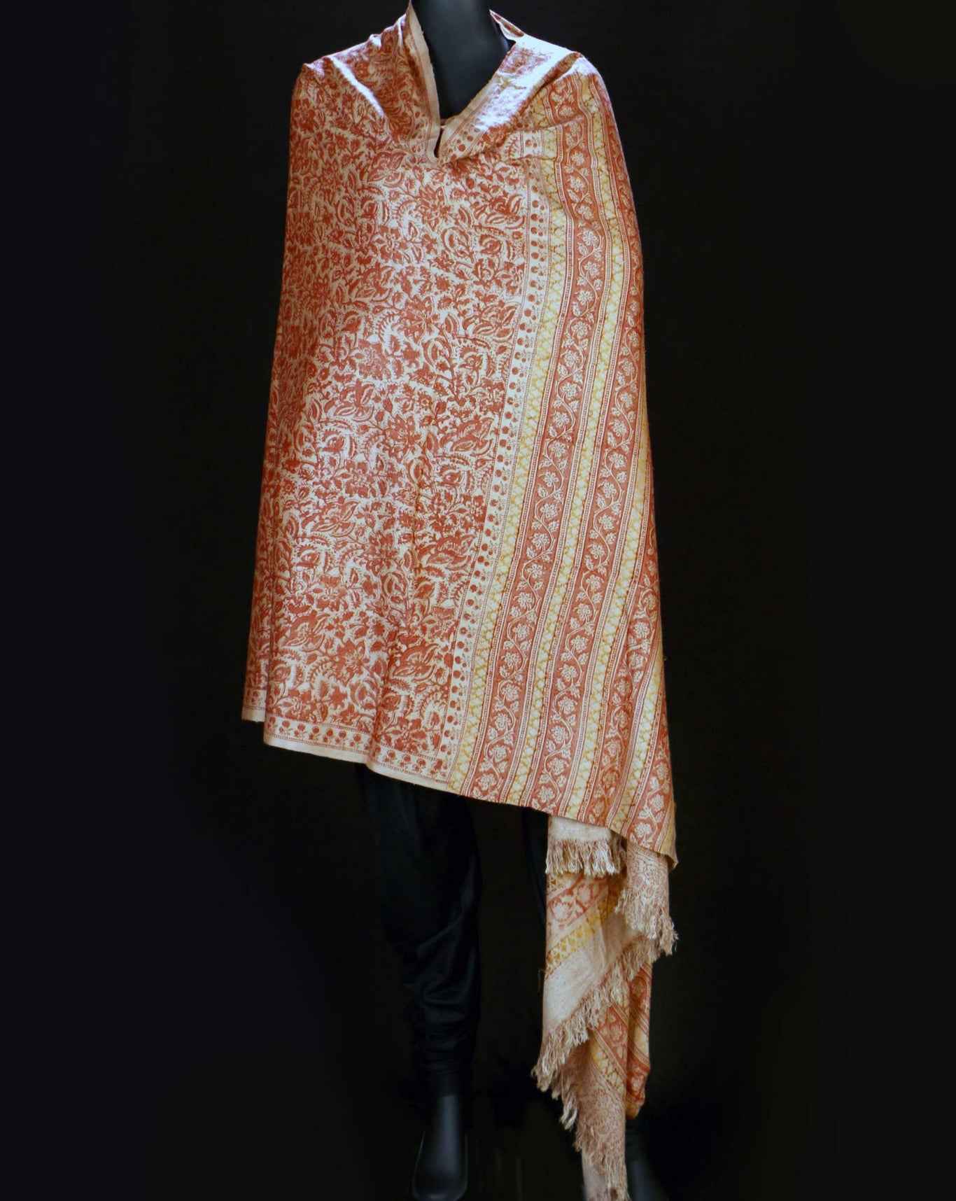 Ereena Eri Silk Orange Flowers  Natural Dye Block Printed  Joda Shawls– AC 4559-02