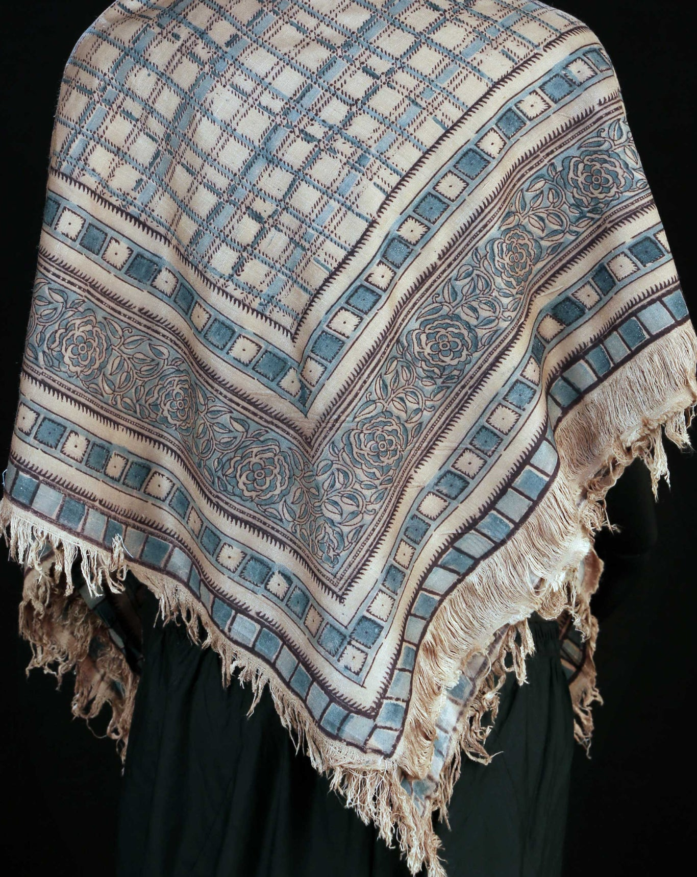 Ereena Earth  Eri Silk Blue Checks  Natural Dye Block Printed Scarf– AC 4560-01