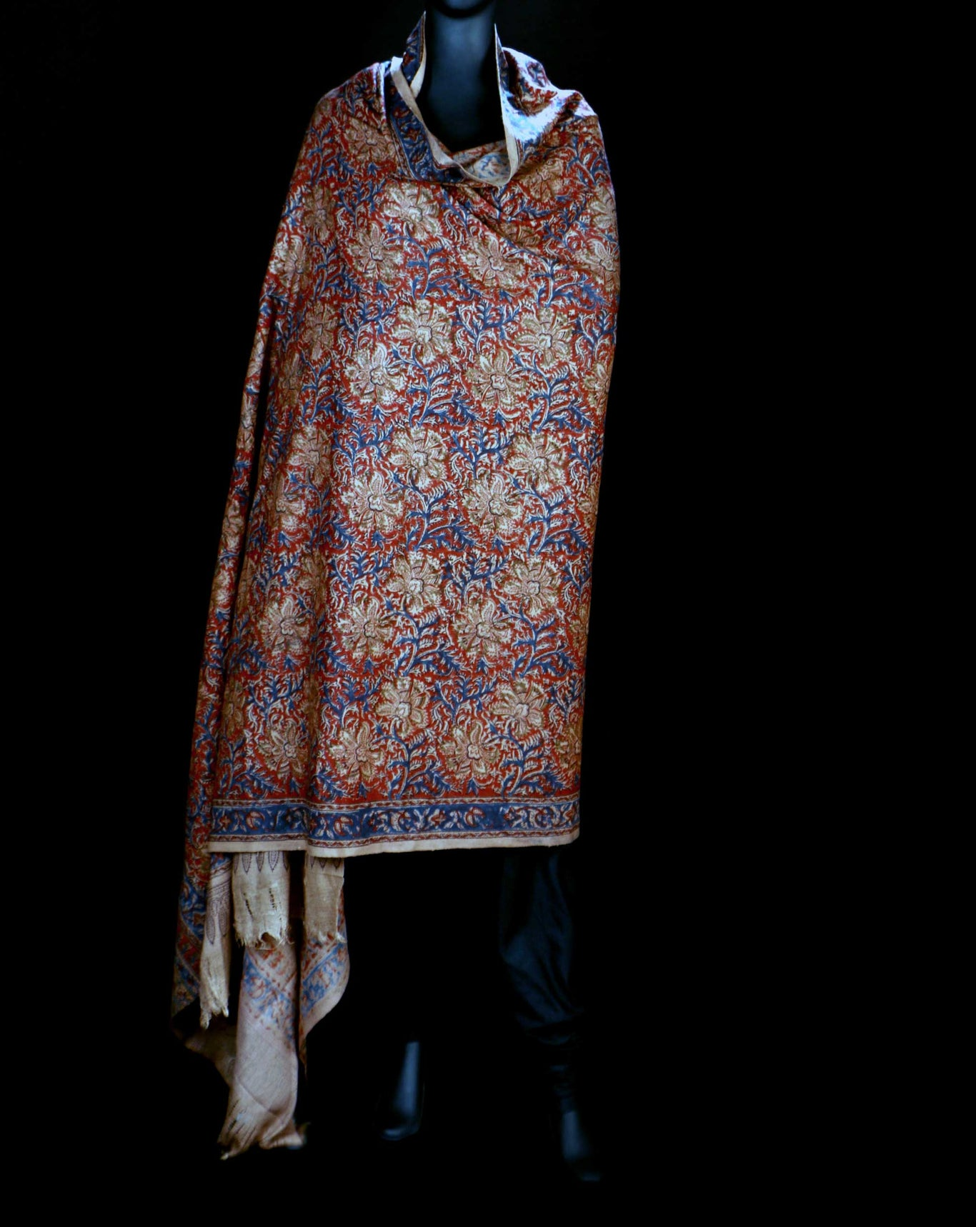 Ereena Eri Silk Red and Cream Floral Natural Dye Block Printed Joda  Shawls– EFVBSH-05