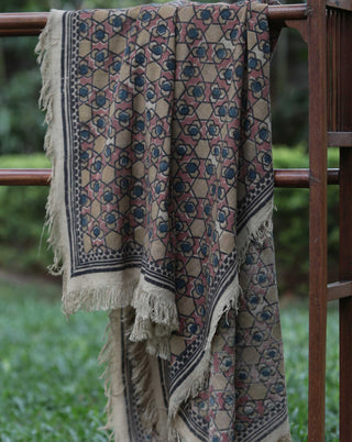 Ereena Earth  Eri Silk Geometric Flowers Natural Dye Block Printed Shawls– EFVBSQS -06A