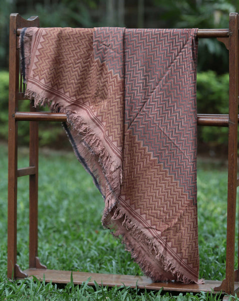 Ereena Earth Eri Silk Zig Zag Natural Dye Block Printed Scarf– EFVBSQS -10A