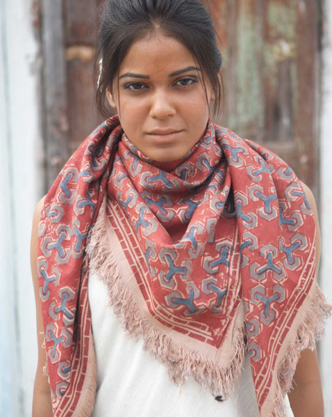 Ereena Earth Eri Silk Blue Links Natural Dye Block Printed Shawls– EFVBSQS -16A
