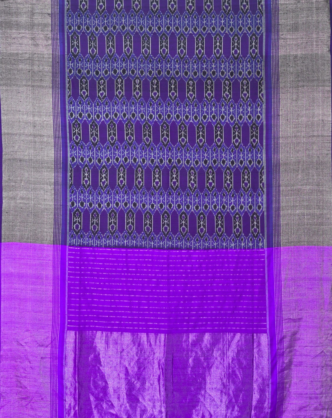 Ereena Purple and Silver Zari Ikat Eri Silk Saree