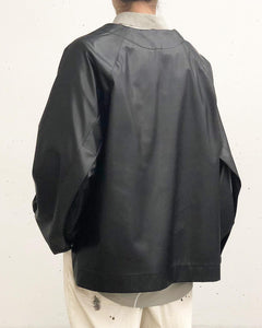 my beautiful landlet / FAKE LEATHER TOPS (BLACK)