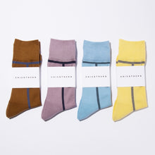 CHICSTOCKS / LINE SOCKS(KHAKI BROWN × DARK GREEN)