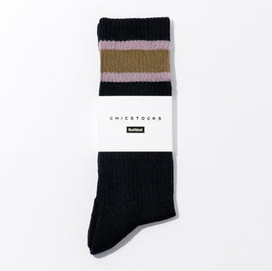 CHICSTOCKS / HEALTH KNIT LINE SOCKS(NAVY × UGUISU)