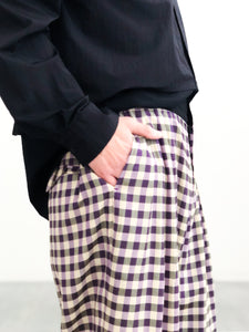 【30%OFF】Sasquatchfabrix. / BLOCK CHECK WIDE PANTS (PURPLE CHECK)
