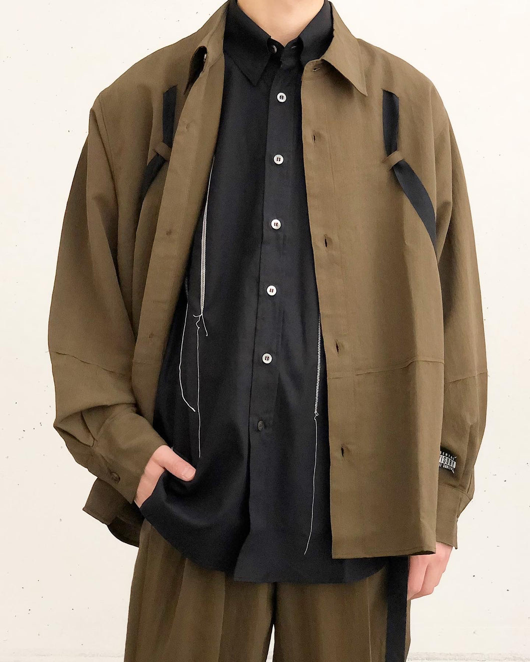 JieDa /RAYON STRIPE TAPE OVER SHIRT(KHAKI)