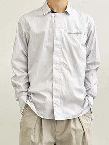 【10%OFF】URU / COTTON PIN FLY FRONT COLLAR L/S SHIRT (WHITE×NAVY)