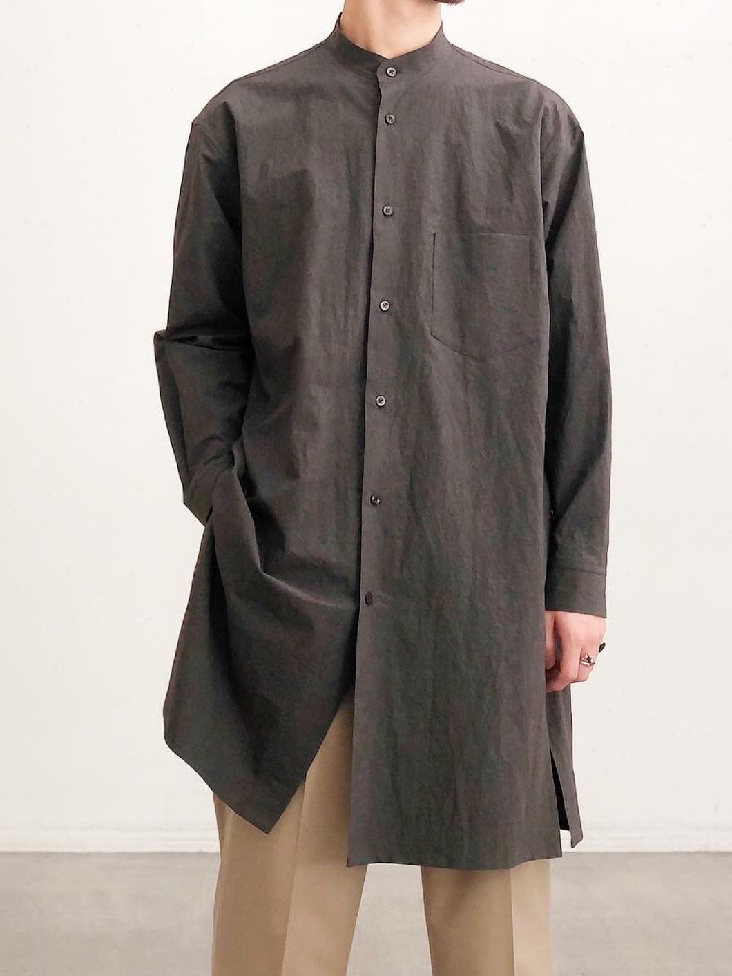WEWILL / BAND COLLAR LONG SHIRTS
