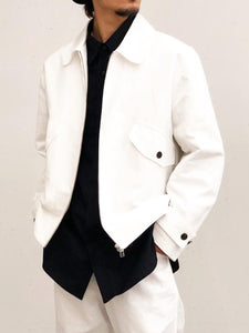 【20%OFF】URU / CANVAS ZIP UP BLOUSON(WHITE)