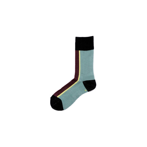 CHICSTOCKS / CENTER LINE SOCKS(SAGE BLUE × BLACK)