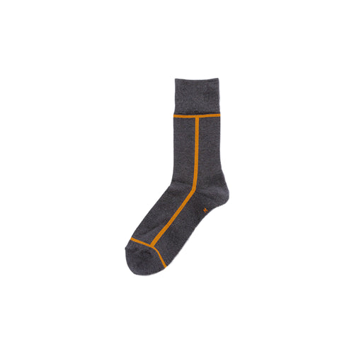 CHICSTOCKS / LINE SOCKS(DARK GREY × MUSTARD)