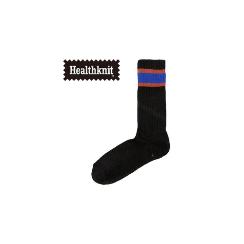 CHICSTOCKS / HEALTH KNIT LINE SOCKS(BLACK × BLUE)