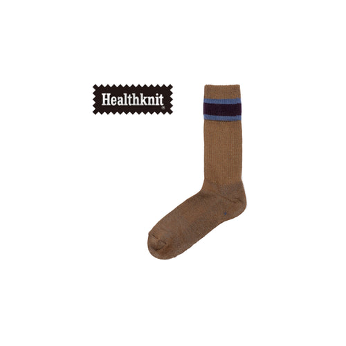 CHICSTOCKS / HEALTH KNIT LINE SOCKS(K.BROWN ×D.PURPLE)