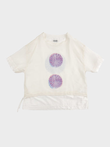 NANUA / HAND EMBROIDERY CENTIPEDE SHIRT (ORANGE×WHITE)