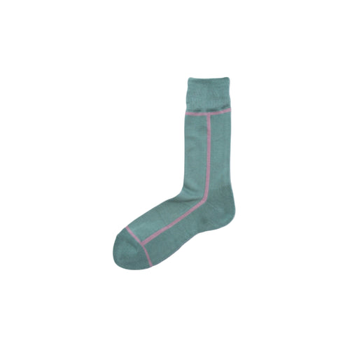 CHICSTOCKS / LINE SOCKS(SAGE BLUE × LIGHT PURPLE)