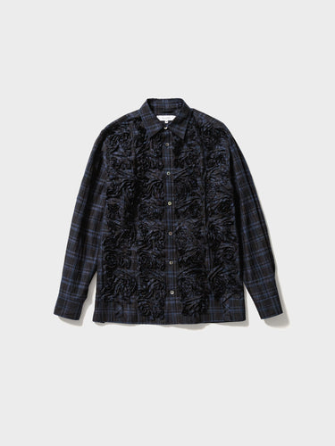 Sasquatchfabrix. / TAPE EMBROIDERY L/S SHIRT (NAVY CHECK)