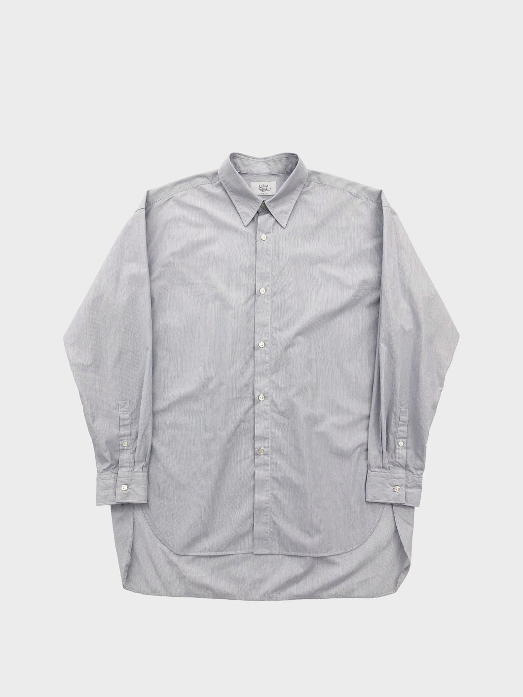 URU / COTTON REGULAR COLLAR L/S SHIRT (WHITE×NAVY)