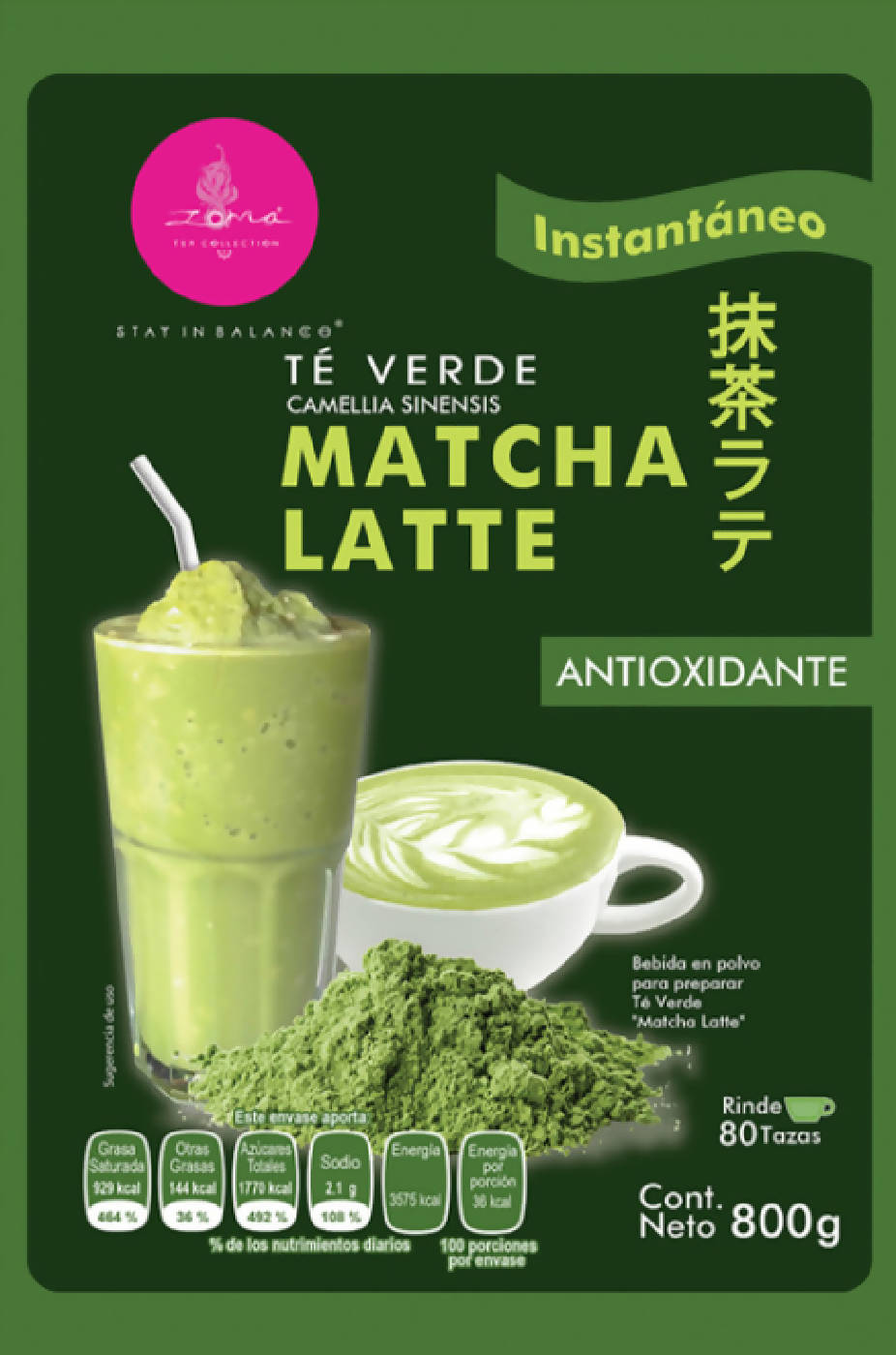 "800grs TÉ VERDE ""Matcha Latte Zoma Tea Collection"""