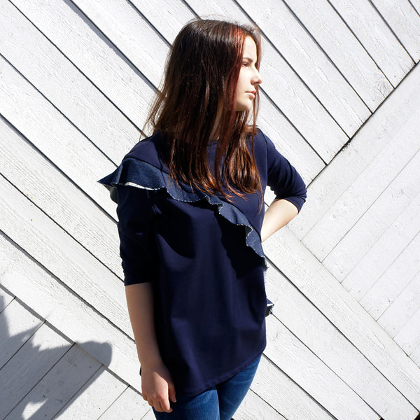 Jersey Sweat Shirt with Denim ruffle LORA