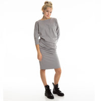 Asymmetric dress EVIJA midi length, double jersey  with 3/4 sleeves