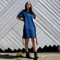 Jersey Shirt  / Dress with Denim bottom POSITIV
