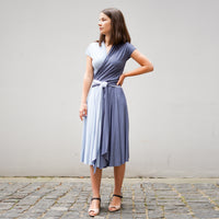 Jersey Wrap Dress with short sleeves DIANA  in light blue