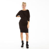 Asymmetric knee length EVIJA dress in sparkle