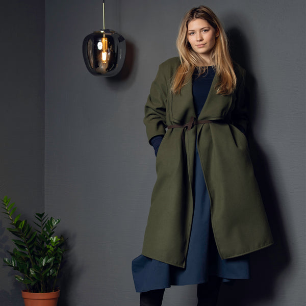 Wrap Coat with Pockets ADA Navy Wrap Coat with Pockets