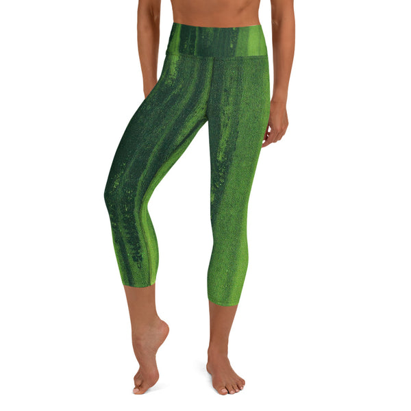 GREEN Yoga Capri Leggings