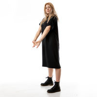 LUNA BLACK oversize t-shirt dress with rolled sleeves.