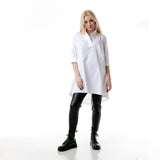 Oversized A-line high-neck cotton shirt blouse DORA